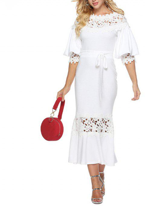 Women's Lace Patchwork Cut Out Lantern Sleeve Solid Party Bodycon Evening Dress - WHITE M