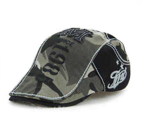 JAMONT Men's Cotton Stitching Camouflage Hat Outdoor Casual Embroidery Letter Ca - GRAY