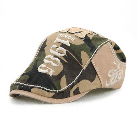 JAMONT Men's Cotton Stitching Camouflage Hat Outdoor Casual Embroidery Letter Ca - VANILLA