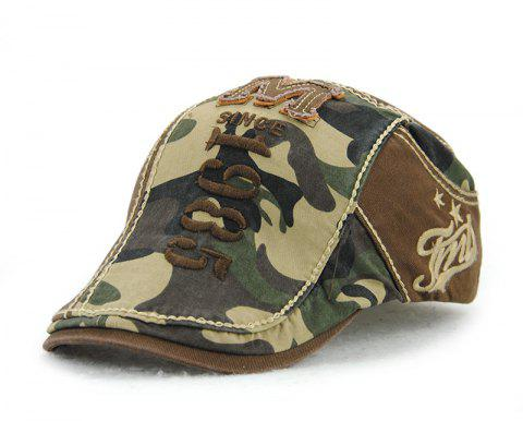 JAMONT Men's Cotton Stitching Camouflage Hat Outdoor Casual Embroidery Letter Ca - COFFEE