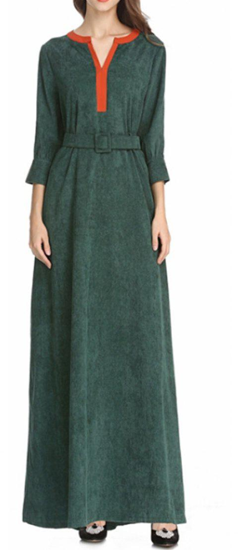 Nice Long-Sleeved Dress with A Belt - ARMY GREEN M