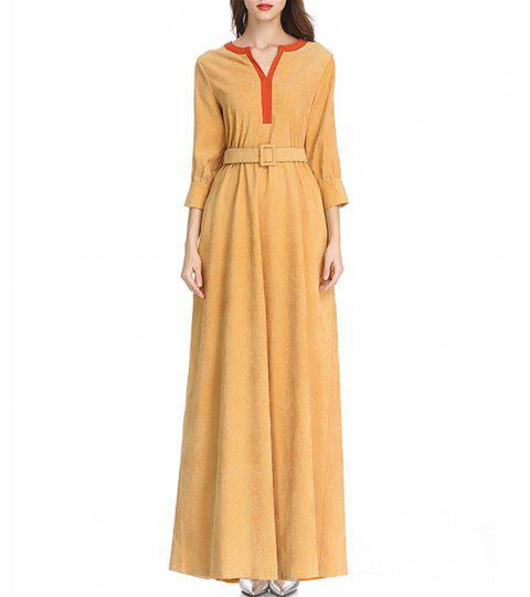 Nice Long-Sleeved Dress with A Belt - GOLDENROD M