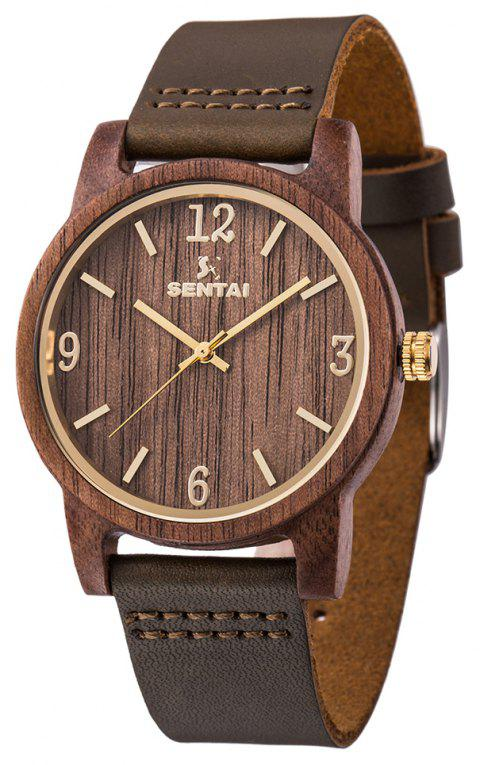 Unisex Natural Wood Leather Handmade Lightweight Quartz Watch - WOOD