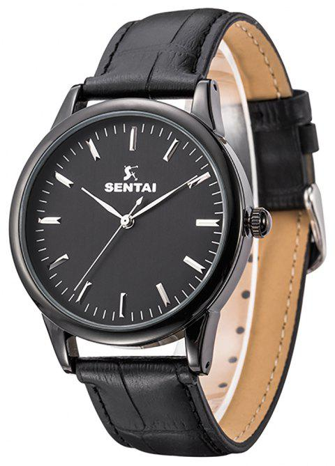 Unisex Stainless Steel Quartz Business Casual Leather Watch 30M WaterResistant - BLACK