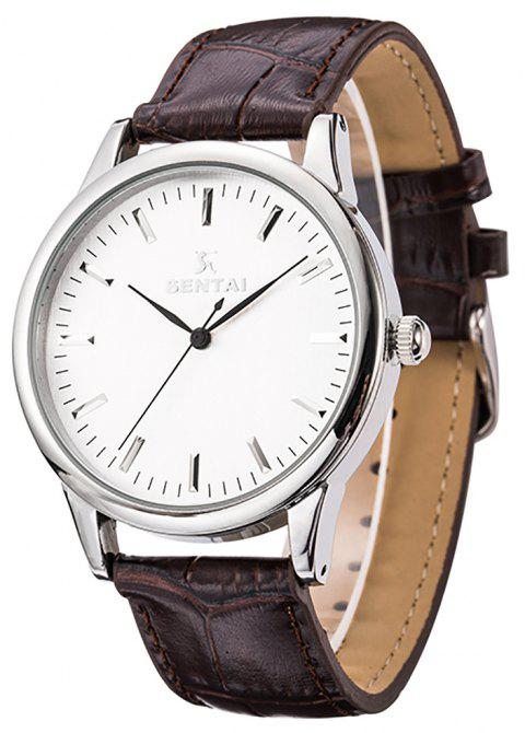 Unisex Stainless Steel Quartz Business Casual Leather Watch 30M WaterResistant - NATURAL WHITE