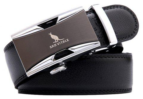 SAN VITALE Black Belt for Men Genuine Leather - BLACK 115CM