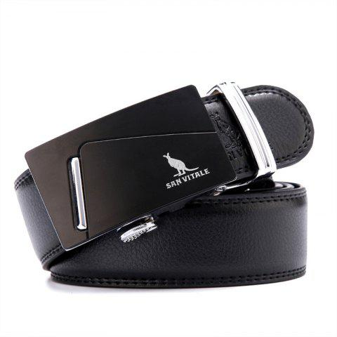 SAN VITALE Men Belt Genuine Leather Strap Automatic Buckle - BLACK 125CM