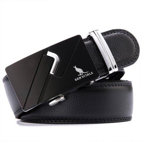 SAN VITALE Men's Buckle Belt Genuine Leather Strap - BLACK 110CM