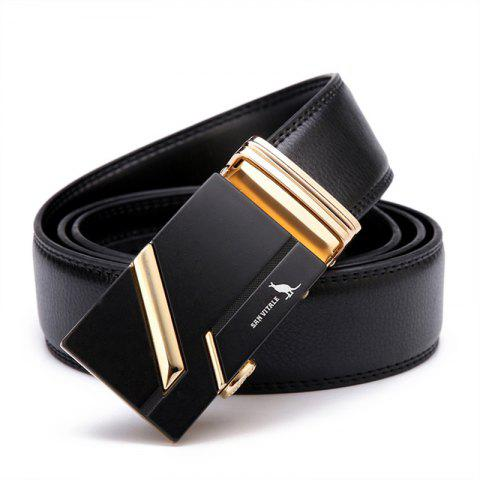SAN VITALE New Design Men Belt Genuine Leather - BLACK 125CM
