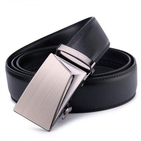 SAN VITALE Men Belt Genuine Leather Strap High Quality - BLACK 120CM