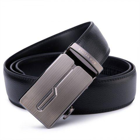 SAN VITALE New Design Black Adjustable Buckle Men Belt - BLACK 125CM