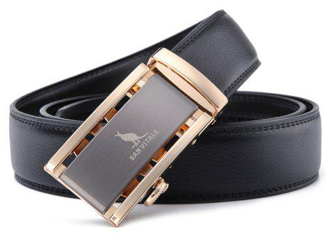 SAN VITALE Brand High Quality Adjustable Buckle Men Belt - BLACK 130CM