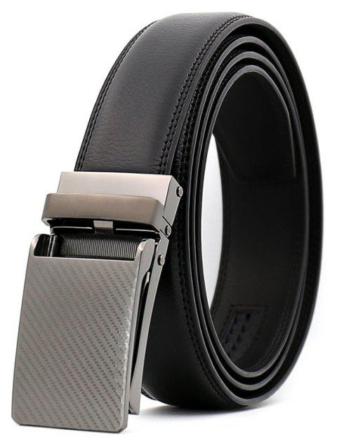 SAN VITALE Black Adjustable Buckle Men Belt Leather - BLACK 130CM