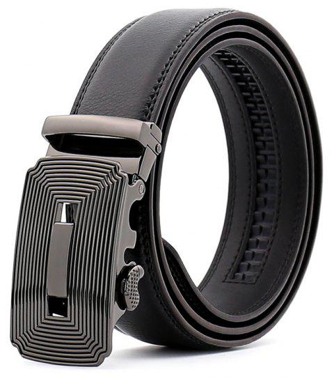 SAN VITALE Adjustable Buckle Men Belt Genuine Leather Strap - BLACK 110CM