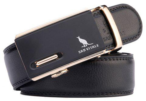 SAN VITALE Genuine Leather Buckle Belt Men - BLACK 125CM