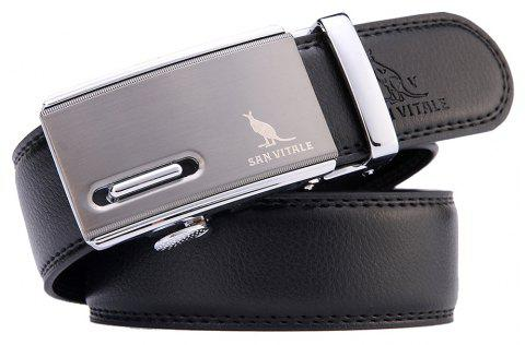 SAN VITALE Adjustable Genuine Leather Men Buckle Belt - BLACK 125CM