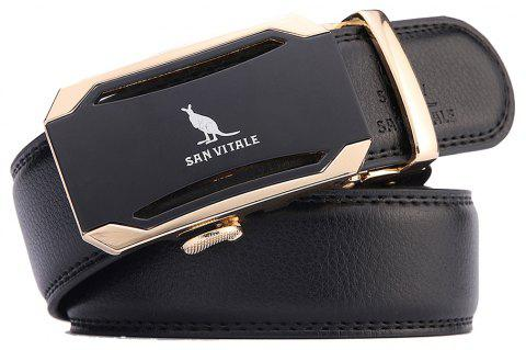 SAN VITALE Adjustable Cowskin Genuine Leather Men Automatic Buckle Belt - BLACK 120CM