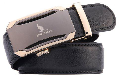 SAN VITALE Adjustable Cowskin Leather Men Auto Buckle Belt - BLACK 130CM