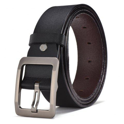 SAN VITALE Genuine Leather Adjustable Pin Buckle Men Belt - BLACK 130CM