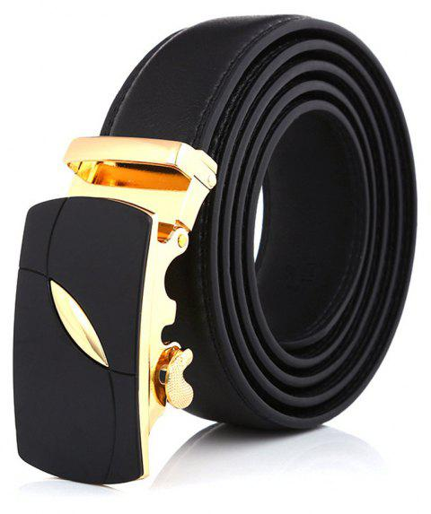 SAN VITALE Adjustable Buckle Men Belt Causal Black Genuine Leather Waistband - BLACK 130CM