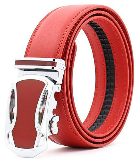 SAN VITALE Auto Buckle Men Belt Causal Waist Strap High Quality - ROSSO RED 120CM