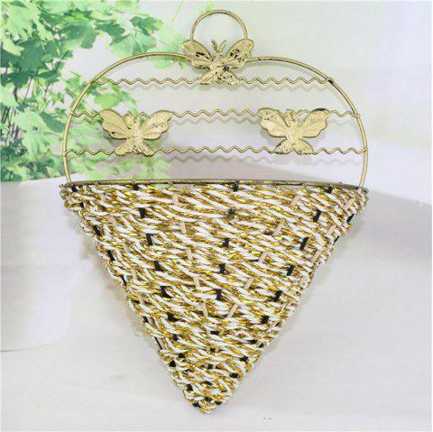 Creative Wall Hanging Metal Artificial Flower Basket Do Old Process - multicolor A 15*8*18CM