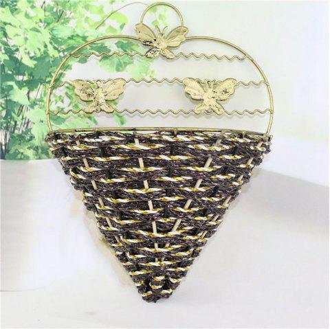 Creative Wall Hanging Metal Artificial Flower Basket Do Old Process - multicolor B 15*8*18CM