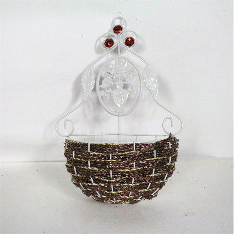 Creative Wall Hanging Woven Metal Rattan Artificial Flower Basket - multicolor B 22*8*39CM
