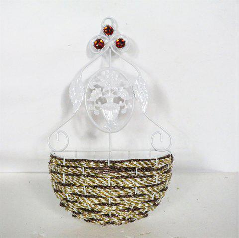 Creative Wall Hanging Woven Metal Rattan Artificial Flower Basket - multicolor A 22*8*39CM