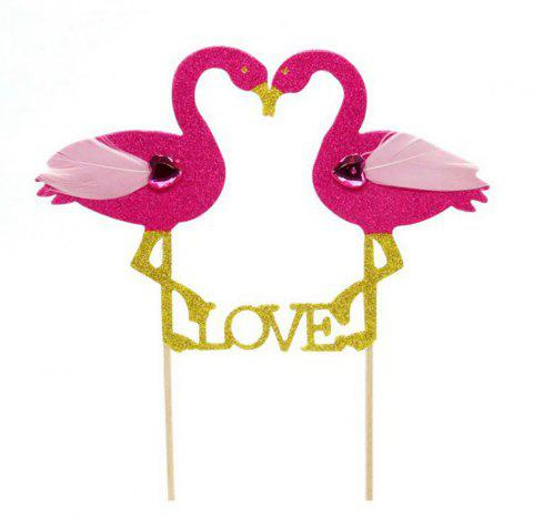 Birthday and Valentine'S Day Decoration Flamingo Cake Insert Card - multicolor A 14*18*0.2CM