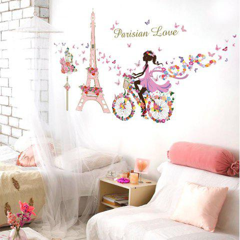 Home Decor Windmill Tower Girl PVC Wall Poster - multicolor B 60*90*0.1CM