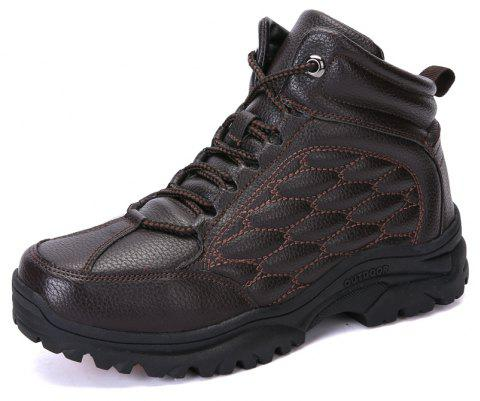 Men'S High-Top Outdoor Cushioning Wear-Resistant Breathable Hiking Shoes - MOCHA EU 39