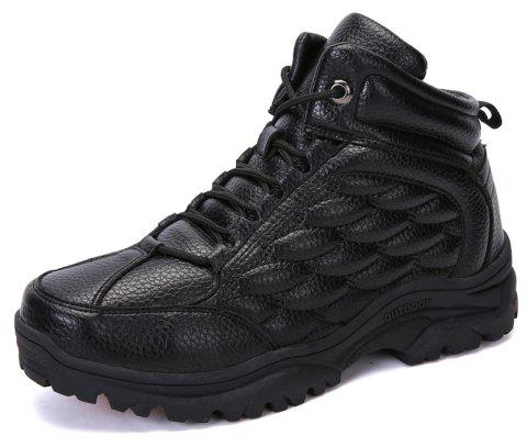 Men'S High-Top Outdoor Cushioning Wear-Resistant Breathable Hiking Shoes - BLACK EU 45