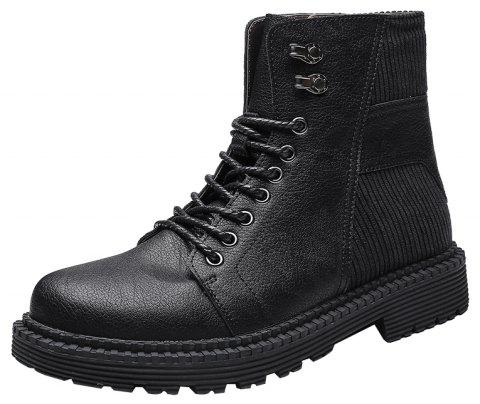 Men'S High-Top Warm Wear-Resistant Tooling Boots - JET BLACK EU 43