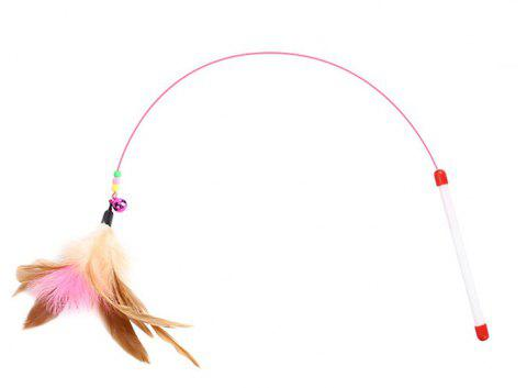 Wire Color Bell Feathers Funny Cat Stick - multicolor