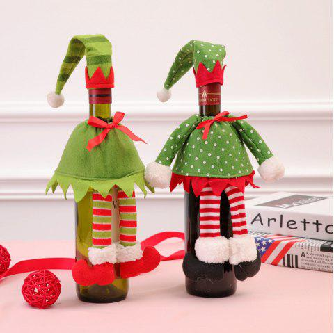 Christmas Decoration Wizard Hat and Skirt Wine Bottle Cover - GREEN 2PCS