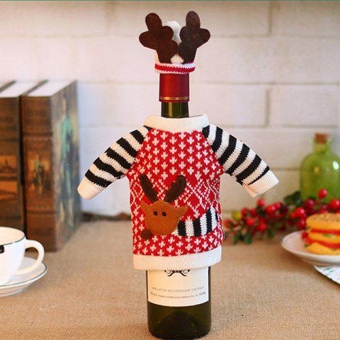 Christmas Deer Elk Style Red Wine Champagne Bottle Covers Bag For - ROSSO RED 16*12CM