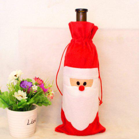 Red Santa Claus Gift Bags Christmas Red Wine Bottle Cover Dining Table Party - RED 13*32CM