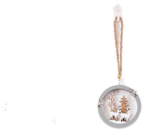Christmas Wooden Round Pendant Ornaments Reindeer Hanging Keychain - LIGHT BROWN 10*10CM