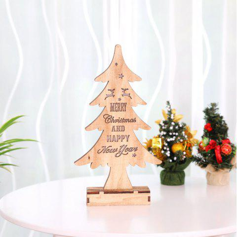 Wooden Christmas Tree with Light Shiny Ornaments - WOOD 33*18CM
