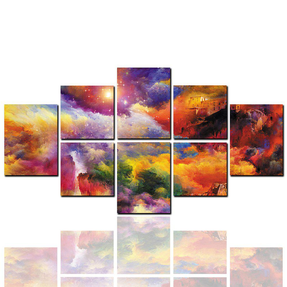 8 Pcs HD Inkjet Paints Abstract Colorful Mountain Landscape Decorative Painting