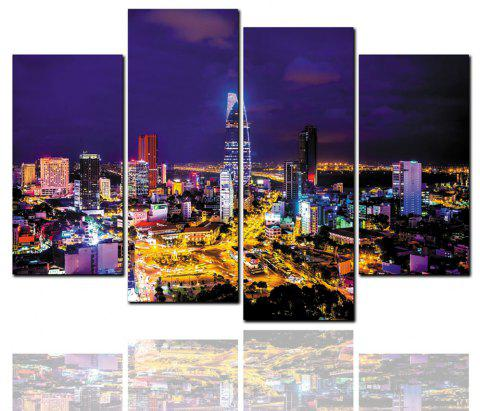 4 peintures HD à jet d'encre peinture décorative City Night Panorama - multicolor 30CM*60CM*2PCS+30CM*80CM*2PCS