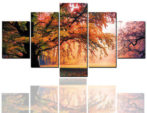 5 Pcs HD Inkjet Paints Autumn Deciduous Landscape Decorative Painting - multicolor 1PC X 8 X 20,2PCS X 8 X 12,2PCS X 8 X 16 INCH( NO