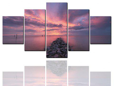 5 Pcs HD Inkjet Paints Purple Sunset Seascape Decorative Painting - multicolor 1PC X 16 X 39,2PCS X 16 X 24,2PCS X 16 X 31 INCH(