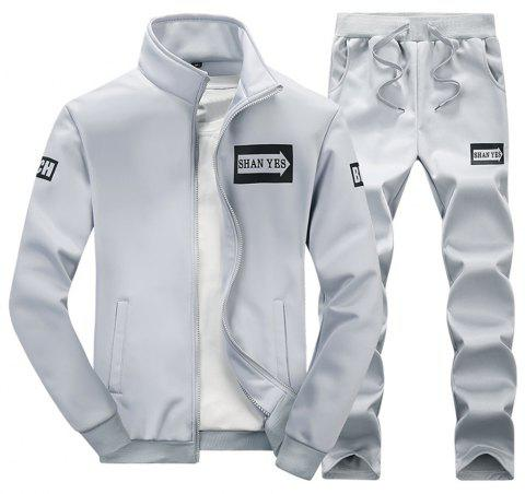 Spring and Autumn Men'S Sports Set D75 - GRAY L