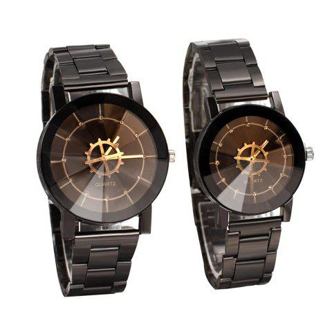 Compass Dial Pointer Steel Belt Lovers Watch - BLACK MEN