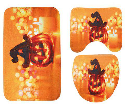 Halloween Toilet Mat Three-Piece Absorbent Non-Slip Bathroom Mat - DARK ORANGE PACK OF 3
