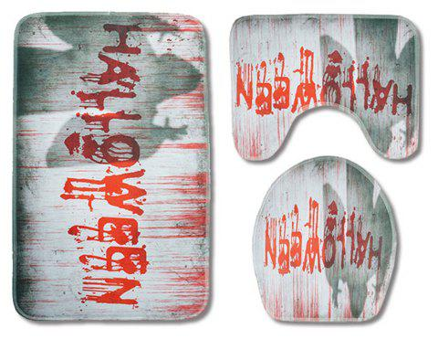 Halloween Toilet Seat Three-Piece Absorbent Non-Slip Bathroom Mat - RED PACK OF 3