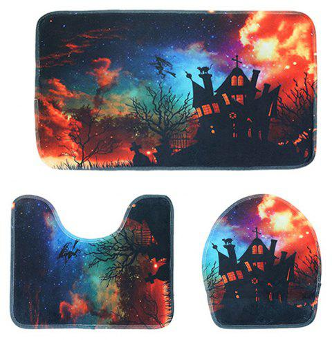 Halloween Toilet Seat Three-Piece Absorbent Non-Slip Bathroom Mat - LAVA RED PACK OF 3