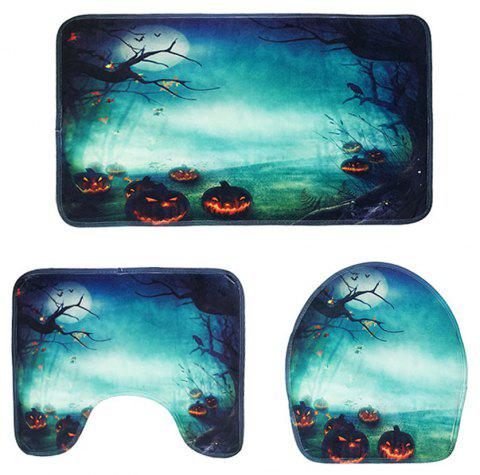 Halloween Pumpkin Series Toilet Mat Three-Piece Non-Slip Absorbent Bathroom Mat - MEDIUM TURQUOISE PACK OF 3